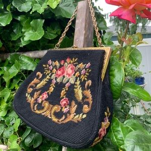 Vintage embroidery clutch handbag floral
